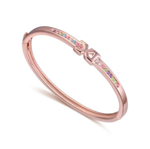Fashion Accessories jewelry Popular Letter Creative 18K Gold Rose Gold X Cross Wrist Warp Bracelet Austrian Crystal Charm Bangles For Women