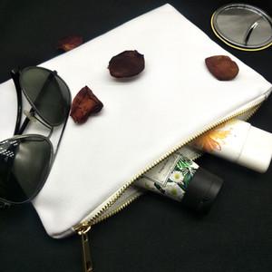 7x10in blanco blanco 12 oz bolsa de maquillaje lona poli para 12ozthick de impresión por sublimación de lona bolsa de cosméticos con cremallera metálico para la impresión de transferencia de calor