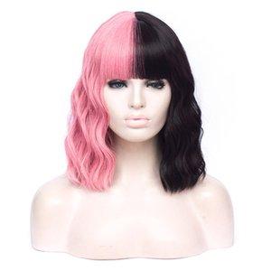 Synthetic Verde Pink Pink Preto VICWIG peruca cosplay vermelho alaranjado roxo azul de duas cores costura curto encaracolado peruca de cabelo para as mulheres