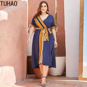 TUHAO Women Striped Dress Plus Size 4XL 3XL 2XL Woman Office Lady Elegant Work Dresses Large Size Female Dress Mother Clothes