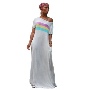 Progettista delle donne senza spalline Abiti Moda a righe con pannelli Stampa Abiti casual estate del bicchierino Slash collo Abbigliamento Donna
