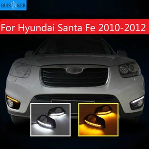Dimmming Style Relay 12v LED CAR Drl Day Day Running Lights solutions with fog lamp hole for Santa Fe 2010 2011