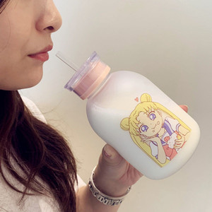 RUIDA 0.5L Cartoon Frosted plastic Bottle Sailor Moon Transparent Glass Water Bottle Leak-proof Drinkware Cute Student Girl Gift Y200330