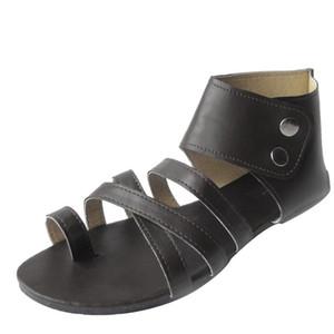 Tobillo botones dobles zapatos de las mujeres abiertas del dedo del pie zapatos de las sandalias de estilo romano Beach Walk alta calidad atractiva de las señoras Outsid