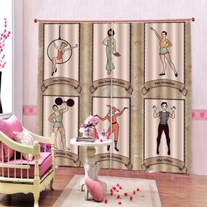 Clown acrobatics sports picture Curtain cortinas Photo Print For Lifving room Bedroom Blackout Window Drapes Decor Customizable Any Size