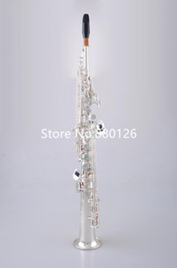 Hot Selling MARGEWATE Straight Soprano S-902 B Flat Saxophone Brass Silver Plated Instruments Music With Mouthpiece Case