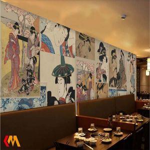 Ukiyo-e Damen-Wandtapete für Japanische Küche Shop Sushi Restaurant Industrie Dekor Retro Papel De Parede Wall Paper 3D