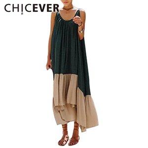 Chicever Kadınlar Için 2019 Yaz Elbise Tunica Hit Renkler Spagetti Kapalı Omuz Uzun Seksi Kadın Giyim Kore Moda Y19071001