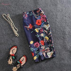 Charming Flower Print Girls Pencil Skirts Lady Midi Saias Female Faldas Women Slim Bottoms S 4Xl Blue Clothes Drop Shipping