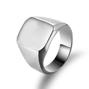 Moda Yüzükler Kare Büyük Genişliği Signet Rings Altın Titanyum Çelik Adam Parmak Siyah Altın Erkek Yüzüğü Takı