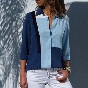 Blusas de las mujeres de la moda de la manga larga de la manga larga de la camisa de la oficina de la oficina de la gasa camisa de la blusa de gasa Tops casuales más tamaño Blusas Femininas