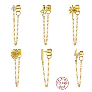 S925 Sterling Silver Earring Clips Creative Fashion Earring Chains for Women Girls Wholesale Tassels Earrings Gold Silver Color