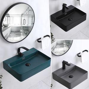 Matte Grey Wash Hand Basins Wall-hung Wash Basin Simple Ceramic Hanging Basin Integrated Basin Bathroom Sink Bowls