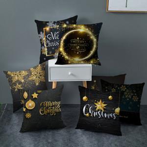 1pcs Weihnachtskissenbezug Black Gold Foil Leinen Kissenbezug Blatt Blumen Diamant-Kissen-Abdeckung für zu Hause Stuhl Sofa Dekor