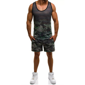 Camouflage Stampato Mens Designer Tute correnti di sport 2 pezzi bicchierini della maglia casuale di estate Pullover Maglietta senza maniche Moda Uomo Abbigliamento sportivo