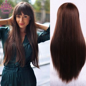 AZQUEEN Brown Long Straight Wig With Bangs Synthetic Hair Wigs for Women Blonde Red Heat Resistant Cosplay Wigs Pure Color Wig