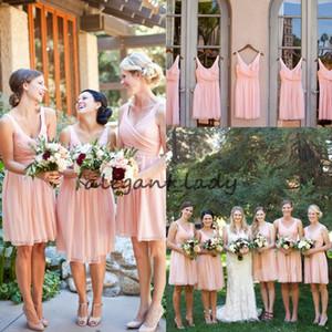 Vintage Pink Blush Короткой Страна невеста платье 2019 V-образный вырез шифон Bohemian Бич Короткие горничный честь гость свадьбы платья партии дешевого
