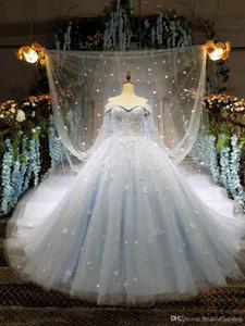 2021 Fait sur mesure Cendrillon bal robe de mariage Bleu ciel 3D Robes de mariée Princesse Appliqué avec des vêtements de mariage doux long Wraps