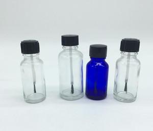 5ml 10ml 15ml Clear Amber green blue Empty Polish Bottle, Glass Bottle with Brush Cap SN838