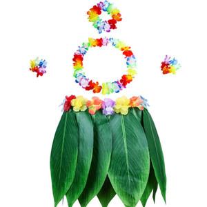 Elástica de la hoja de Ti Hula falda con la flor del hibisco Leis 5 x partido de Luau de Paquete Material de Hawai Conjunto del partido del traje increíble Favores D
