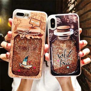 Glitter lantejoulas dinâmica quicksand líquido case para iphone 7 6 6 s 8 plus X XS Max XR Frasco de Perfume Bonito Flor Tampa Do Telefone