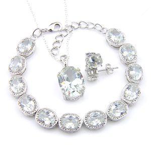 3pieces / set Le donne Matrimoni monili del braccialetto pendenti di orecchini della vite prigioniera di impostare ovale bianco Fuoco Topaz 925 collana Accessori di moda nuziale