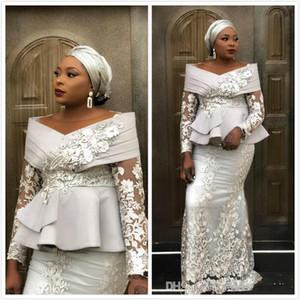 2020 Aso Ebi árabe Prata Sereia Vestidos Lace frisada vestido de baile mangas compridas formal do partido de recepção Segundo Vestidos
