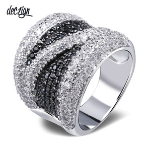 Deczign 2019 Wide White and White Cubic Zirconia Finger Ring Trendy Wholesale Jewelry Gorgeous Copper metal Fashion Large Rings SJ09882