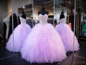 Pink Prom Quinceanera Evenig Ball Gown Sweetheart Neckline Beaded Bodice Ruffles Train Light Sky Blue Sweet 16 Pageant Dresses Lace Up