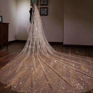 2019 Sparkly Bling Bling фата собора Поезд 3 МЕТРОВ Luxury Wedding Party Блестящей Фата белого шампанское
