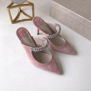 10.5 cm olarak Moda Kadınlar yüksek topuklu ayakkabılarla Pembe Kadife Ponited-Toe Elmas Sandalet Lüks Kadın Ayakkabı Parti Düğün Topuklar