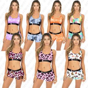 2020 Mulheres Designer Swimsuit Push Up tanque Vest Bra + Shorts Natação terno de banho 2pcs Bikini Set Tie-Dye Borboleta Imprimir D42805 Swimwear