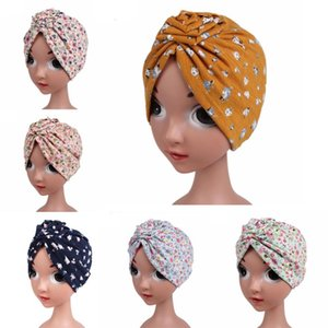Muslim Kids Girls Hat Floral Print Pleated Beanie Skullies Hair Loss Bonnet Turban Islamic Arab Headwear Head Cover Caps Hats