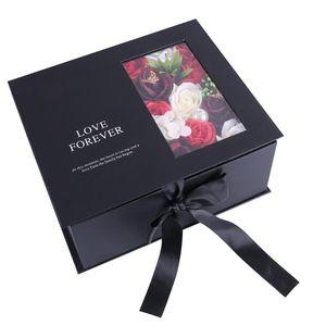 Savon Saint Valentin Fleur Foulard Set main Boîte de cadeau de Noël cadeau Envoyer à St Valentin Anniversaire Fête cadeau Fête des Mères