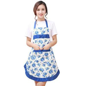 Mulheres Floral Bib Imprimir bowknot Kitchen Restaurant Cooking bolso do vestido Avental
