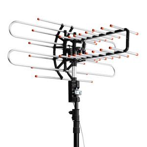 TV Leadzm HD Antena exterior 360 ° de rotación dual UV Segmento 174-860MHz 22-38dB con bolsa de accesorios de Estados Unidos en la acción