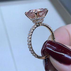 Choucong الكبير وسادة شكل مجوهرات فاخرة 925 SilverRose الذهب التعبئة الشمبانيا توباز CZ الماس المرأة زفاف ولي العهد باند الطوق هدية