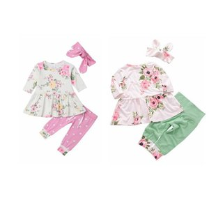 Baby Clothes Girls Floral Printed Clothing Sets Kids Ruffle Top Dot Pants Headband Suits Child Long Sleeve Warm Outfits Hairband Suit AYP481