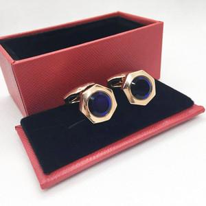 Abotoaduras de cobre manga unhas unhas manguito link de manguito francês cor abotoaduras 1 par com cristal azul