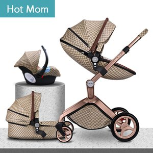 2019 original Hot Mom High Landscape  3 in 1 baby stroller can sit reclining Newborn carriage folding baby pram 0-3