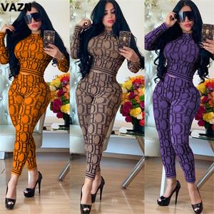 VAZN KSN5058 Leopard 3colors Comfotable Stampa manica completa + Long Pants 2019 Estate casuale delle donne 2Piece Two Women Fashion Set Y200110