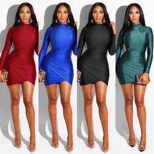 Kulüp Kadınlar Elbiseler Moda Bayan Parti Modelleri Kadın Tasarımcı BODYCON Elbiseler Katı Renk Uzun Kollu Seksi