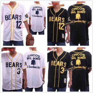 The Bad News Bears Movie Baseball Jerseys 12 Tanner Boyle 3 Kelly Tamaño de fuga S-3XL Envío gratuito Chico's Bail Bonds