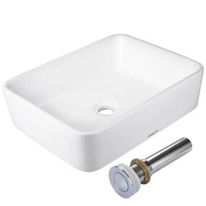 Bagno Vessel Sink porcellana ceramica bacino di vanità rettangolo Pop Up di scarico Bianco
