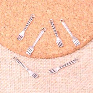 300PCS سحر المطبخ شوكة 15 * 5MM صنع العتيقة قلادة صالح، عتيقة التبتية فضة، مجوهرات DIY اليدوية