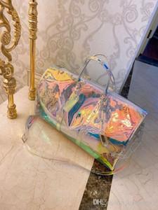 2020 Impressão Laser corrente de mão de bagagem Travel Bag PVC mochilas Homens e Mulheres Um ombro Sua Grande Transparent Pacote de alta qualidade