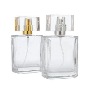 30 ml 50 ml Boş Cam Parfüm Şişeleri Toptan Kare Sprey Atomizer Seyahat Boyutu Ile Doldurulabilir Şişe Kokusu Durumda