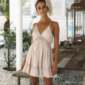 Europe And The United States Cross-Border Sexy Halter Waist Lace Dress 2019 Summer New Party Hot Style Dress