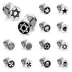 Cross Star Skull Stainless Steel Dumbbell Stud Earrings Fashion Jewelry for Women Men Gift Will and Sandy Drop Ship