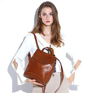 Lucky2019 Oil Wax Guangzhou Cowhide Both Shoulders Travel Backpack Will Capacity Concise Woman Package